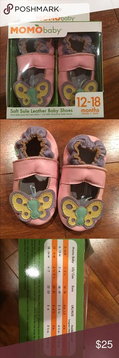 NWT MOMO soft leather pink Butterfly shoes 12-18M Adorable MOMO baby girl soft sole leather shoes!   Pink with butterfly design.   12-18 months  Comes with box (has a small tear). MOMO Shoes Baby & Walker