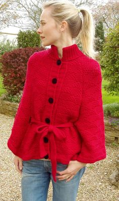 red knitted cape