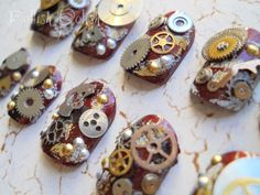 Steampunk 3D Japanese Nail Art by DollishPolish on Etsy, use a metallic base and it could look really steampunk !!