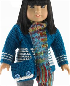 American Girl doll Pullover, shoulder bag, scarf and beret crochet patterns - Scroll down for crochet instructions