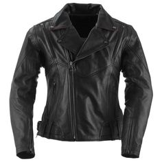 The Sapphire Jacket is a top-grain leather women's motorcycle jacket that blends traditional biker styling with fashion elements like a pink leather collar underside and adjustable waist side belts.