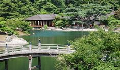 Japanese Gardens: Garden Elements  utilize elements such as ponds, streams, islands and hills to create miniature reproductions of natural scenery
