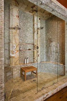 Contemporary 3/4 Bathroom with Rain Shower Head, frameless showerdoor, Built in shower storage, Double showerhead, Glass Tile