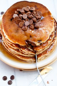 Cafe Delites | Whole Wheat Choc Chip Banana Bread Pancakes | http://cafedelites.com