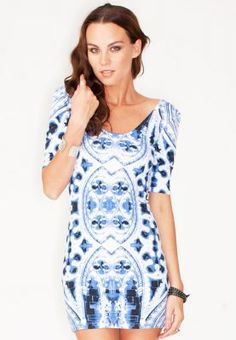 A perfect addition to your casual wardrobe, this short dress from Motel Rocks flaunts a cool gothic print in a blue and white color mix. Layer it with a leather jacket for a chic high street appeal. Bandeau Bodycon Dress, Bodycon Dress With Sleeves, Casual Dresses For Women, Short Dresses, Fashion Company, Blue And White, My Style, How To Wear, Clothes