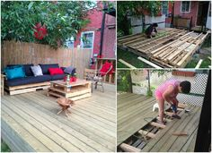 Original  Terrasse Exterieure En Palettes / Outdoor Deck Made Out Of Pallets  #palletdeck #pallettable #palletterrace #recyclingwoodpallets Another crazy idea, building my deck covered with pallets  (pallets are treated with a product against the rain). Under the pallets, I installed a...