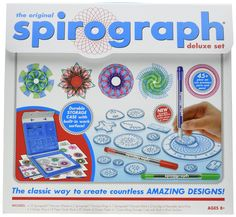 Kahootz Spirograph Deluxe Design Set with Spirograph Coloring Book & Pencils Kit. Spirograph Deluxe Design Set & Spirograph Coloring Book & Pencils. Deluxe Set: 45-piece deluxe set includes 19 wheels, 2 rings, 1 rack, Spiro-putty, 3 pens, 14-page guide book, design paper and carry-along storage case. Coloring Books.
