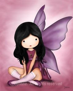 fairy?  angel?  in purple and pink