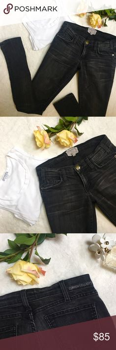 """Dark Charcoal """"The Skinny"""" Current/Elliott Jeans Not quite black Current/Elliott jeans. They are size 23 but run a bit big, so I have them listed as a size 24. No holes, excellent condition. Soft, comfortable, and flattering. Current/Elliott Jeans Skinny"""