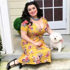 😊Happiness = you + me😊 My Luna always makes me smile and her kisses are so sweet❤️ . 📸by my sweet hubby Outfit by Curvy Outfits, Hot Outfits, Summer Outfits, I Smile, Make Me Smile, Pin Up Style, Thats Not My, Short Sleeve Dresses, Bichon Frise