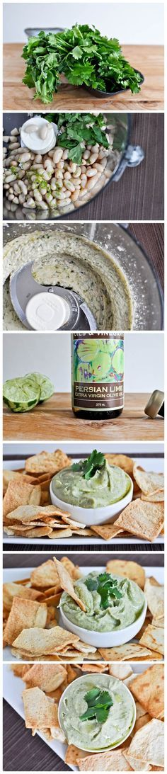 Cilantro Lime White Bean Hummus  15-ounce can of cannellini beans, 1 clove of garlic, 1/4 cup cilantro, 1 teaspoon lime zest, 1 tablespoon lime juice, 1/3 cup olive oil, salt and pepper to taste