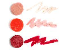 Tea for Two (nude shimmer lip sheer), Satin Doll (poppy lip sheer), Lady in Red (matte crimson lip color)