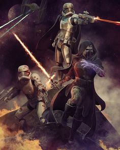 Star Wars The Force Awakens Art by: Björn Barends #starwars #theforceawakens #artwork #kyloren #captainphasma by starwarsarchive
