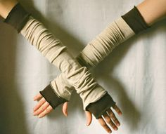 Creased Arm Warmers Upcycled Clothing Funky Beige with by cutrag