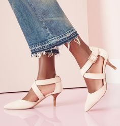 Classic suede mid heel pumps with sweeping cross straps | Sole Society Tamra