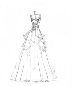wedding dress sketch great gift for yourself or by dresssketch, $89.00