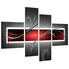 Set Canvas Pictures Panel Four Large Red Black Grey Abstract 130 cm XL Wall Art