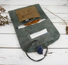 Grey/Brown Tobacco Pouch - Leather Tobacco Bag - Suede Leather - Recycled Leather - Rolling Tobacco - Gemstone