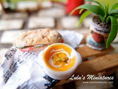 Miniature Sandwich and Pumpkin Soup Set - 1/12 Scale Dollhouse Food