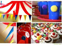"""love the crepe paper from the ceiling and """"clown cup"""" idea"""