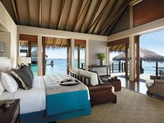 The Best Maldives Water Villas We've Seen at Shangri La Villingili Home Bedroom, Bedroom Furniture, Beach Bedrooms, Bedroom Balcony, Bedroom Ideas, Master Bedroom, Maldives Water Villa, Male Maldives, Beach Room
