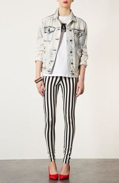 Fun! Topshop Mod Stripe Denim Leggings