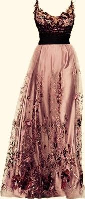 Pink and Black Beaded Vintage Style Dress