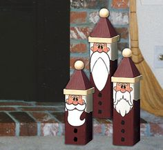 Santa Trio PatternAdd some holiday cheer to your decor with these adorable Santas. They are easily made using our full-size pattern and inexpensive 4x4s.