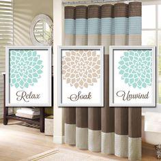 Relax Soak Unwind - Seafoam Blue Green Beige Linen - Flourish Flower Artwork Set of 3 Bathroom Prints Wall Decor Art Picture Match. $30.00, via Etsy.