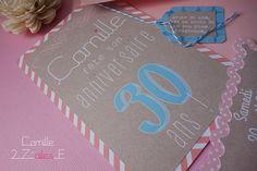 invitation #shabby #kraft #vintage #retro #birthdaygirl #dirty30 #birthday #fun #french