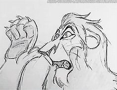 Scar and Rafiki from The Lion King, 1994. | 9 Beautiful Hand-Drawn Animations From Disney Films