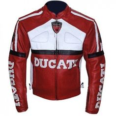 Ducati Red and White Color Motorcycle Biker Leather Jacket  #Leather Jacket; #Men Leather Jacket; #Biker Leather Jacket; #Fashion; #Motorcycle Leather Jacket; #Handmade; Uk; Usa; Canada;