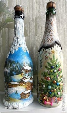 40 Easy And Creative Christmas Decoration With Jars And Bottles - Bottle Crafts Wine Bottle Art, Painted Wine Bottles, Diy Bottle, Wine Bottle Crafts, Jar Crafts, Decorated Bottles, Glass Bottles, Diy Xmas, Christmas Crafts