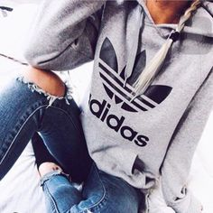 "Fashion ""Adidas"" Print Hooded Pullover Tops Sweater Sweatshirts"