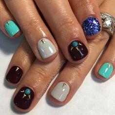 Southwestern nails burgundy nails gray nails teal nails gel mani nail art nail design short nails glitter nails