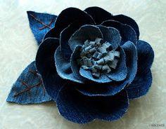 Artes com Capricho: Pap- Flor de tecido- jeans