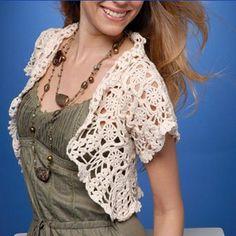 Boléros et leurs grilles gratuites , au crochet ! - Le blog de Anne Crochet Coat, Bolero Crochet, Crochet Shrugs, Crochet Sweaters, Bolero Pattern, Aprons Vintage, Wedding Art, Apparel Design, Vest Coat