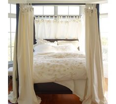 We have this canopy bed but I'd really like to add the drapery to increase the drama. Dream Bedroom, Home Bedroom, Bedroom Furniture, Bedrooms, Master Bedroom, Farmhouse Canopy Beds, Farmhouse Bedroom Decor, Canopy Bed Curtains, Drapery