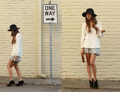 v-neck sweater, floaty dress, ankle boots