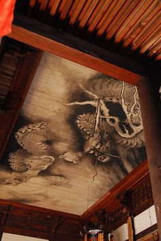 Ceiling paint at Tofuku-ji temple, Kyoto, Japan [I love the woodwork where the crown molding would be.]