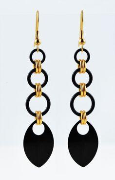 Long Arrowhead Chainmaille earrings