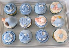 Cupcakes Fondant, Baby Boy Cupcakes, Baby Cupcake, Cupcakes For Boys, Fondant Baby, Baby Cookies, Fondant Toppers, Baby Shower Cupcakes, Shower Cakes