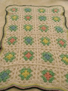 Granny Square CROCHET AFGHAN / Baby Blanket 41x58 White Mint Yellow Pink SWEET! #HandmadeAfghanLapghanBabyBlanket