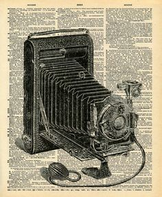"Vintage Dictionary Print ""Antique Camera"""