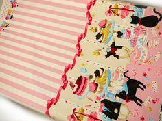 Harajuku Dolls Japanese Fabric / Black Cats, Rabbits and Sweets Pink - 110cm x 50cm