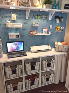 Hello, everyone! I know you have heard me say this before, but, if there is one thing I dislike is wasted space. Craft Room Design, Craft Room Decor, Cricut Craft Room, Craft Room Storage, Storage Ideas, Craft Room Shelves, Pegboard Craft Room, Basement Craft Rooms, Small Craft Rooms