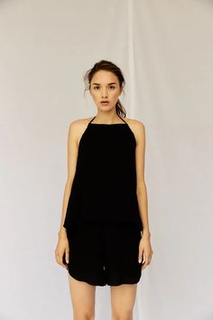 (1) Halter Tank - Black – Devlyn van Loon Chart Design, Summer Heat, The Gathering, Black Media, Tie, This Or That Questions, Minimalism, Size Chart, Cotton