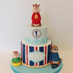 "Jessica Edwards on Instagram: ""An Alvin and the Chipmunks: Chipwrecked cake for a super cute birthday boy! #cakestagram #cake #customcake #alvin #alvinandthechipmunks #nautical #yxe #cakedecorator"""