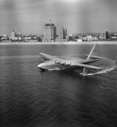"Howard Hughes' H-4 Hercules, ""The Spruce Goose"", in Long Beach harbor, 1947."