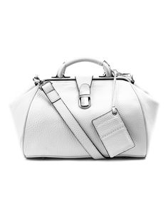 """This bag is the medium-sized version of OBJECTPOSH's signature Doctor's bag series, the """"Pimlico"""".  It offers a clean, sophisticated look with silver-toned, glossy hardware.  Unexpectedly roomy, this shoulder bag is a daily essential item that will hold everything you need during the daytime."""